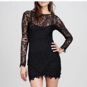 FOR LOVE & LEMONS Black Lace Scarlett Mini Dress L